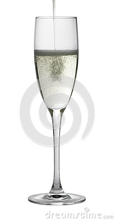 Champagne glass while filling