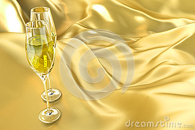 Champagne Glass on Satin