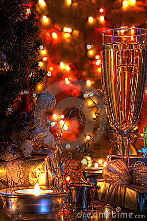 Champagne in glasses and christmas decoration