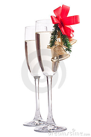 Champagne glasses decorated with Christmas bells