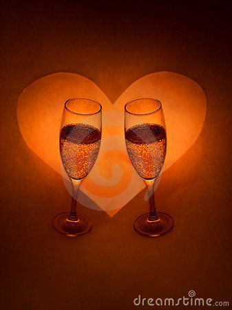 Champagne Glasses And Heart