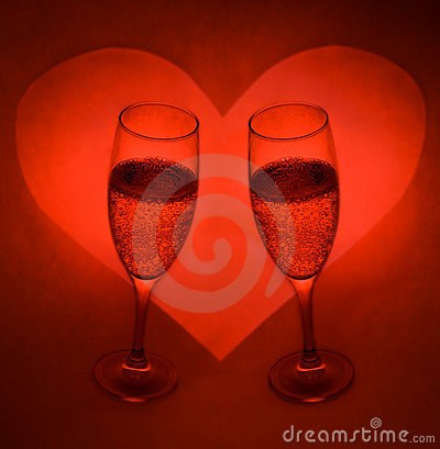 Champagne Glasses And Heart 2