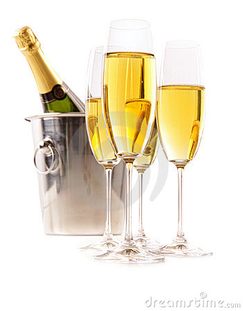 Champagne glasses with ice bucket on white