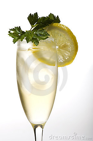 Champagne glasses with lemon close up