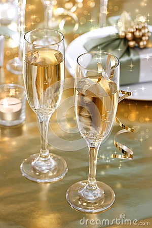 Free Champagne Glasses On The Dinner Table Stock Photos - 27597463