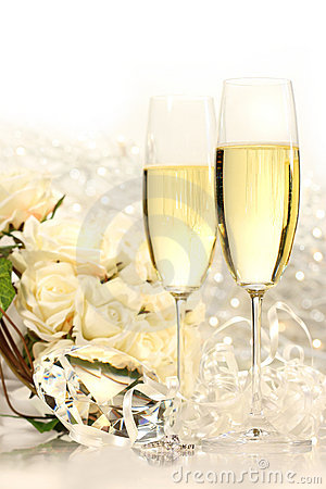 Free Champagne Glasses Ready For Wedding Festivities Stock Image - 5588611