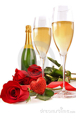 Free Champagne Glasses With Red Roses And Little Heart Stock Image - 12498941
