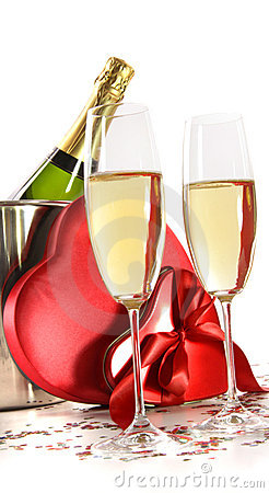 Free Champagne Glasses With Valentine Gifts On White Royalty Free Stock Photo - 12498915