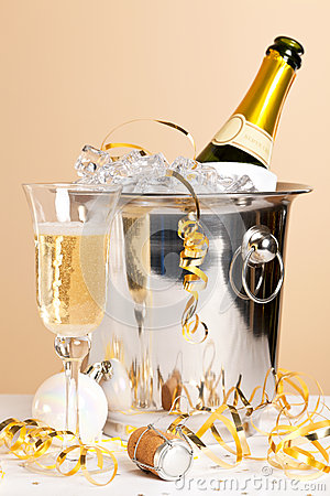 Champagne ice bucket and crystal glass