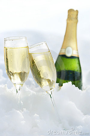 Free Champagne In The Snow Stock Photos - 2053403