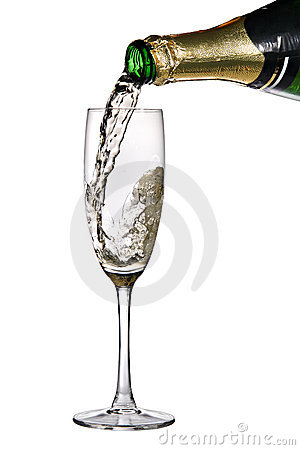 Champagne poured into flute
