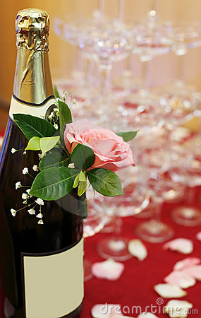 Champagne with rose