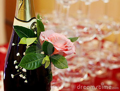 Champagne with rose close-up