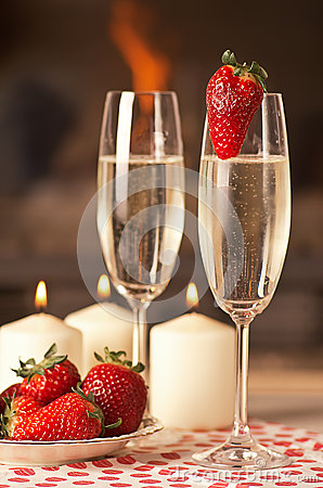 Champagne and strawberries.