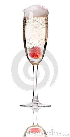 Champagne with strawberry - christmas cocktail