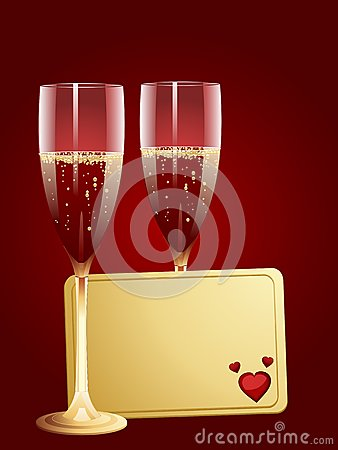 Champagne and valentine message tag