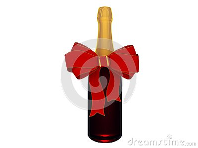 Champagne or wine bottle with bow