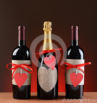 Champagne And Wine Bottles Decorated For Valentine Royalty