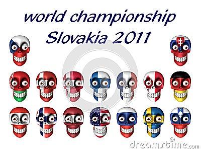 Champi fan hokeja lodu krajowi symbole światowi
