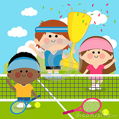 Free Champion Kids Tennis Players At Tennis Court Holding Trophy Royalty Free Stock Photo - 64045545