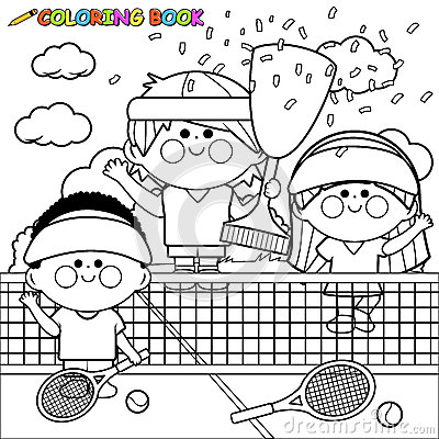 Free Champion Kids Tennis Players At Tennis Court Holding Trophy Coloring Book Page Royalty Free Stock Image - 87571766