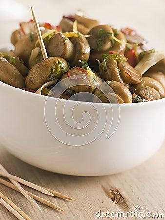 Championes al Ajillo- Chilli marinated Mushrooms