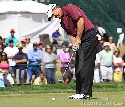 Champions Tour - Fred Funk putts on the 18th Editorial Image
