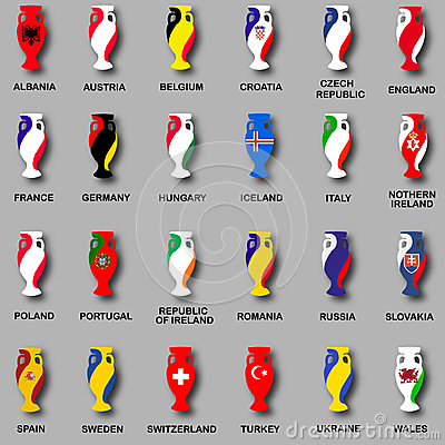 Free Championship Cup Euro 2016 France Participant Countries Set Of Icons. National Flag Cups. Prize For Game. Golden Award. Euro Stock Image - 70103381