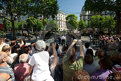 Champs Elysees Crowd Editorial Stock Photo