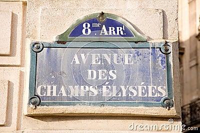 Champs-Elysees sign Paris