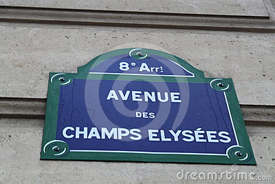 Champs  Elysees Street Sign Editorial Image