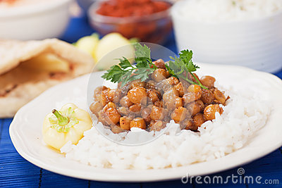 Chana masala with rice
