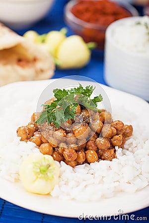 Chana masala with rice