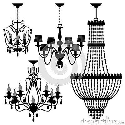Chandelier Black Silhouette Light Lamp