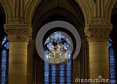 Chandelier inside Notre Dame, Paris