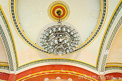 Chandelier and mural paint in old Casino