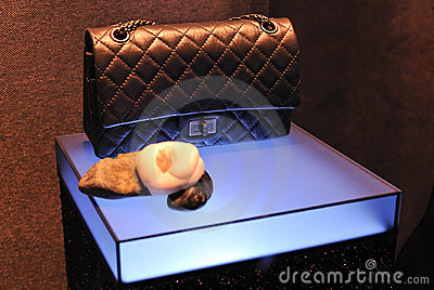 Chanel handbag in window showcase Editorial Image