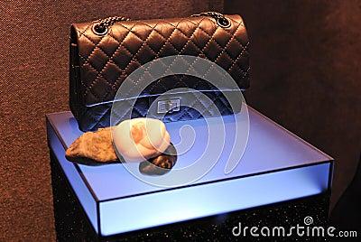 Chanel handbag in window showcase Editorial Image