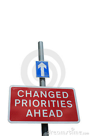 Changed Priorities Ahead Sign, Isolated on White
