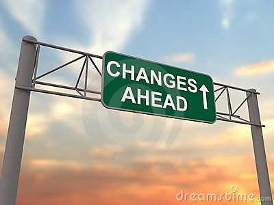 Changes ahead - freeway sign