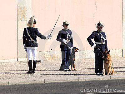 Changing of the guard ceremony in Lisbon, Portugal Editorial Image