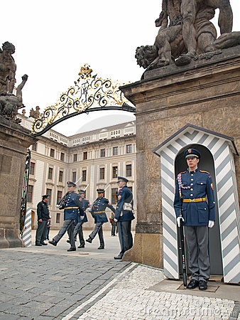 CHANGING OF THE GUARDS AT PRAGUE CASTL Editorial Image