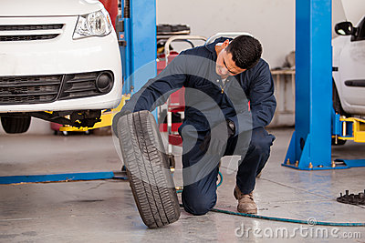 Changing tires at an auto shop