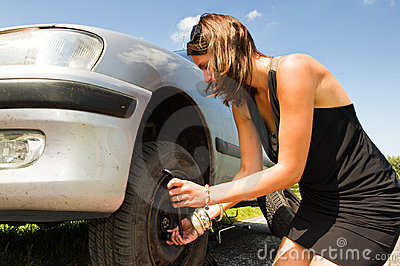 Changing a tyre stock photo image 13104150