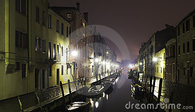 Channel night in Venice after the rain
