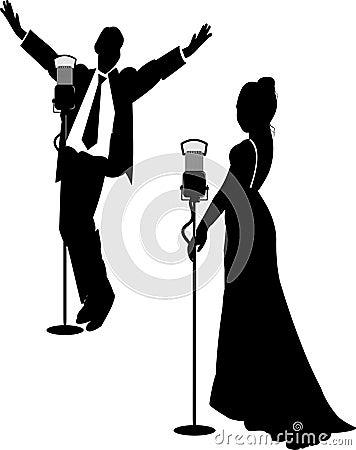 Chanteurs de salon en silhouette