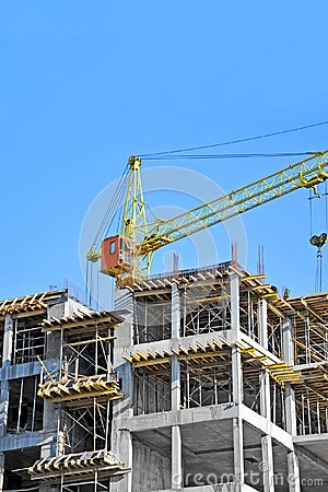 Chantier de grue et de construction