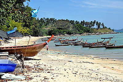 Chao Lo, Thailand: Wooden Fishing Boats Editorial Stock Image