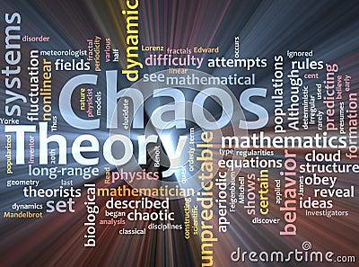 Chaos theory word cloud glowing