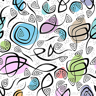 Chaotic lines and color spots seamless pattern